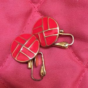 Jewelry - Vintage red clip earrings